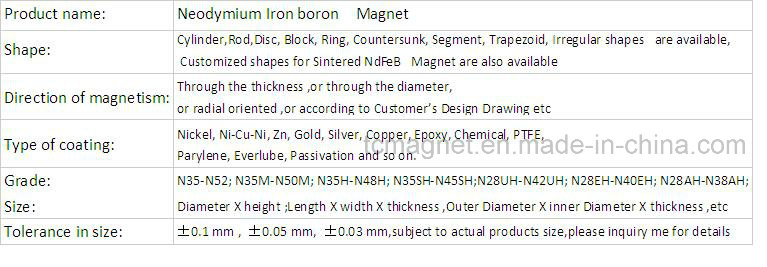 Neodymium Iron Boron Rare Earth Magnets with Ts 16949 and ISO 9001
