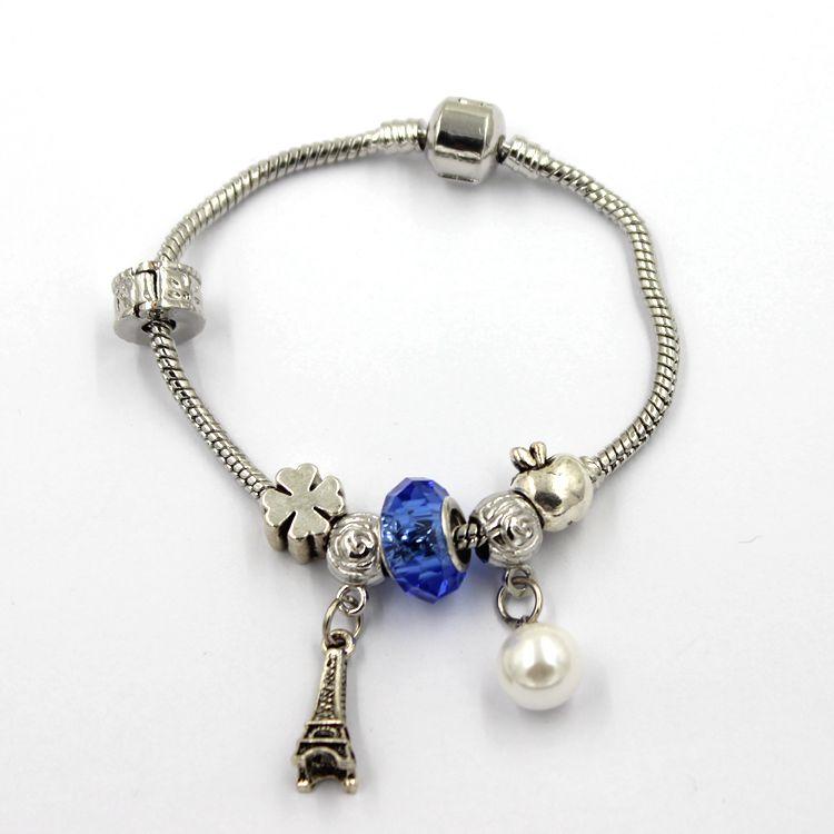 Crystal Charm Silver Snake Charm Bracelet Snap Clasp
