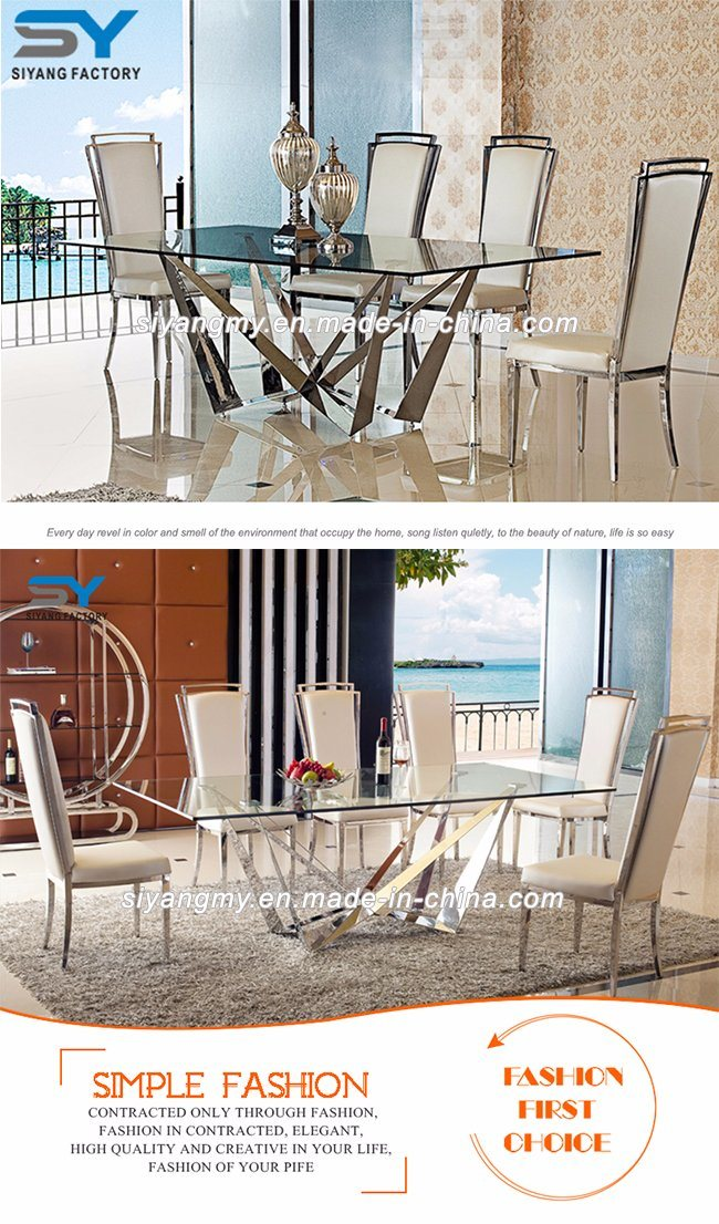 Home Furniture Dining Room Set Glass Dining Table for Banquet