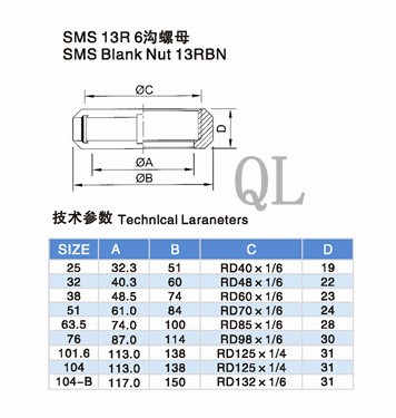 Sanitary Stainless Steel Pipe Fitting 13r SMS Round Nut