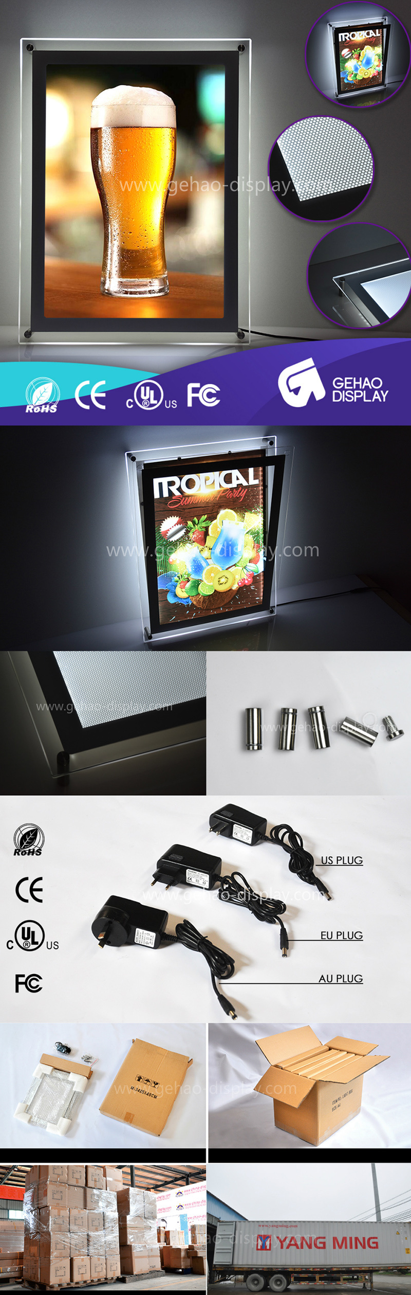 High Quality Ultra Slim LED Acrylic Light Box Sign