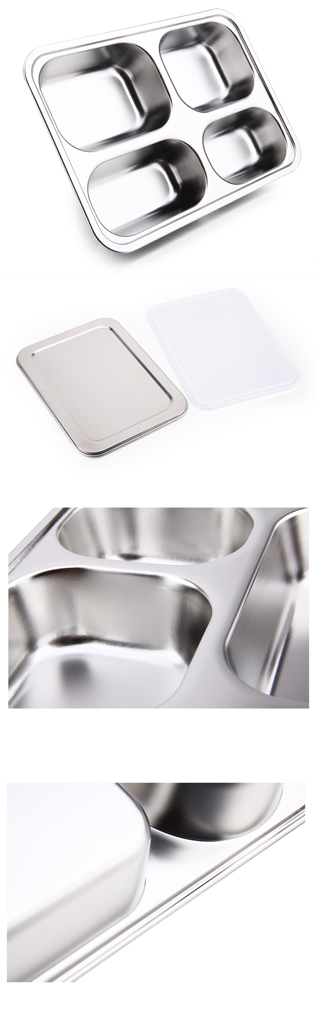 Large Capacity 304 Stainless Steel Fast Food Tray & Lunchbox with 4 Dividers