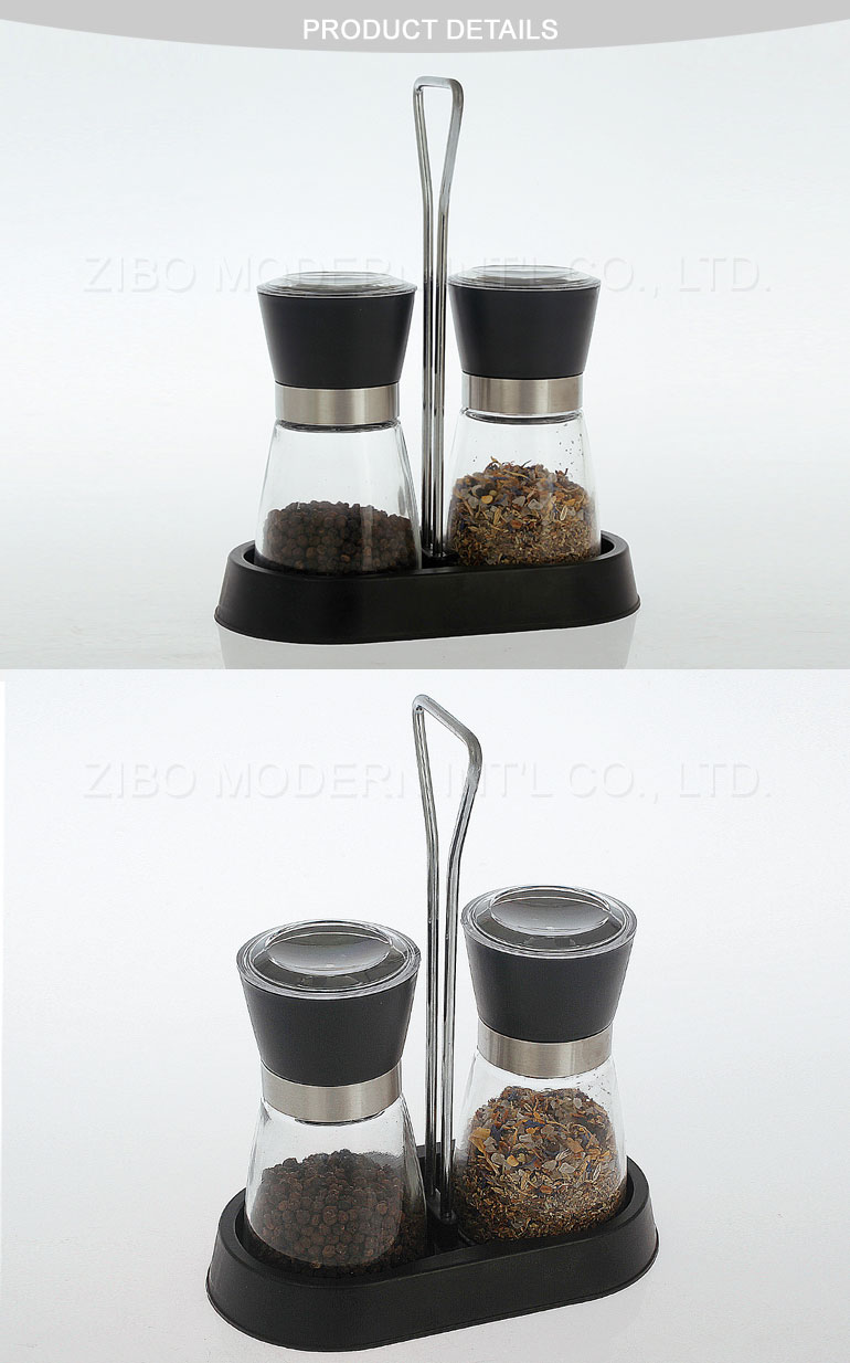 Adjustable Grinding Ceramic Mechanism Glass Salt and Pepper Mill with Spice Rack