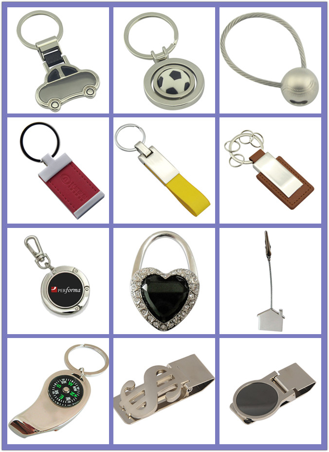Promotion Metal Imprint 2 Side Logo Leather Key Chain (F3030)