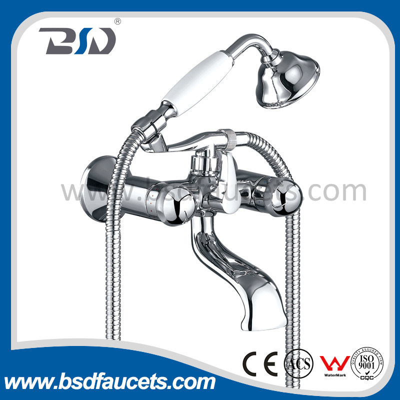 Bath Shower Faucet Mixer Chromed Double Handle Brass Wall Mounted