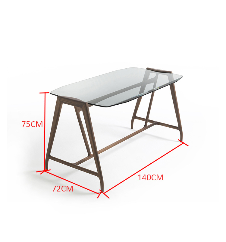 Hot Sale Executive Office Wooden Furniture Leg Table Glass Desk