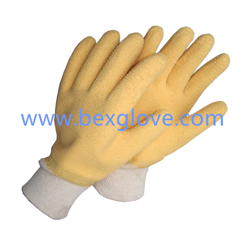 Cotton Jersey Liner, Cotton Knit Wrist, Latex Coating, Ripple Styled Crinkle Finish Glove