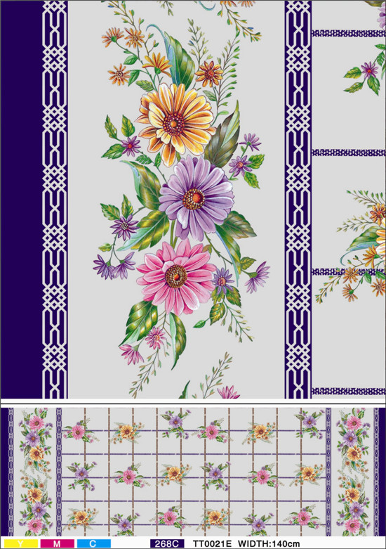 New Design Printed Patterns PVC Transparent Tablecloth Factory (TJ0098)