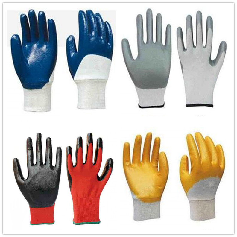 Cotton Jersey Nitrile Half Coating Glove