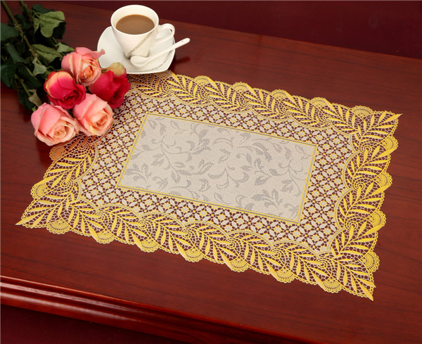 Waterproof PVC Lace Gold Tablemat Size 38*55cm