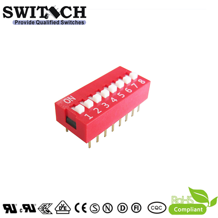 Red Dust-Proof PCB Slide, Micro Piano, Right Angle Spst Miniture Electronic Waterproof DIP Switch (SW10-DS-08)