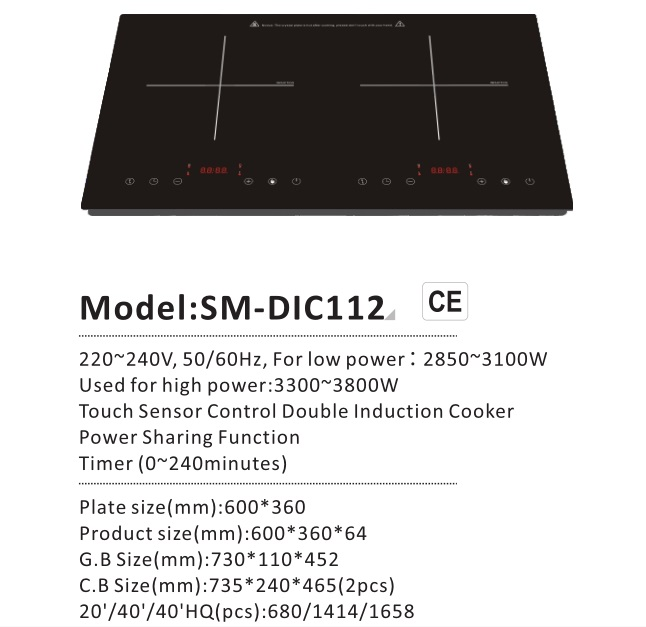 2017 Newest CE/RoHS Approved 3600W Tabletop Double Burners Commercial Induction Hob Model SM-DIC112