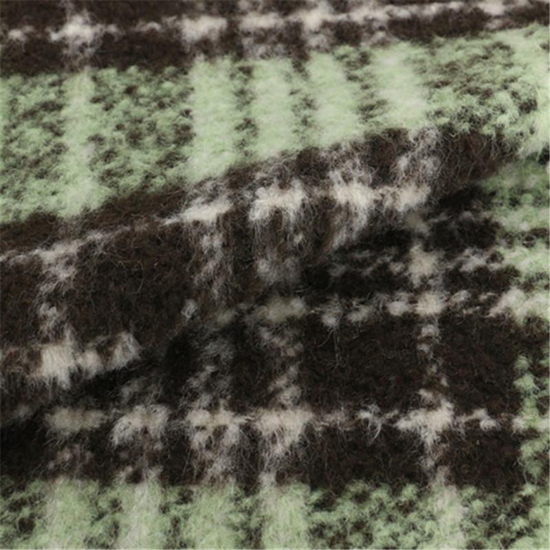 30% Wool 70%Polyester Fabric Woolen Women Checks Garment