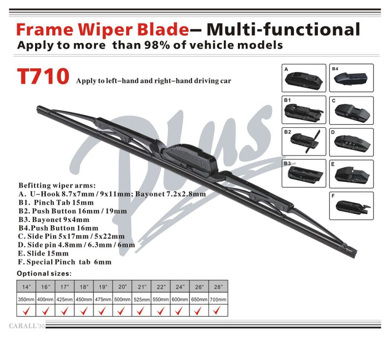 T710 Driver Passenger Vehicle Smooth Quiet Streak-Free Windshield Stealth Stainless Steel Rubber Silicone Frame Wiper Blade