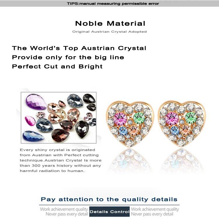 Swa Elements Crystal Heart Stud Earring for Women (ER0025-C)