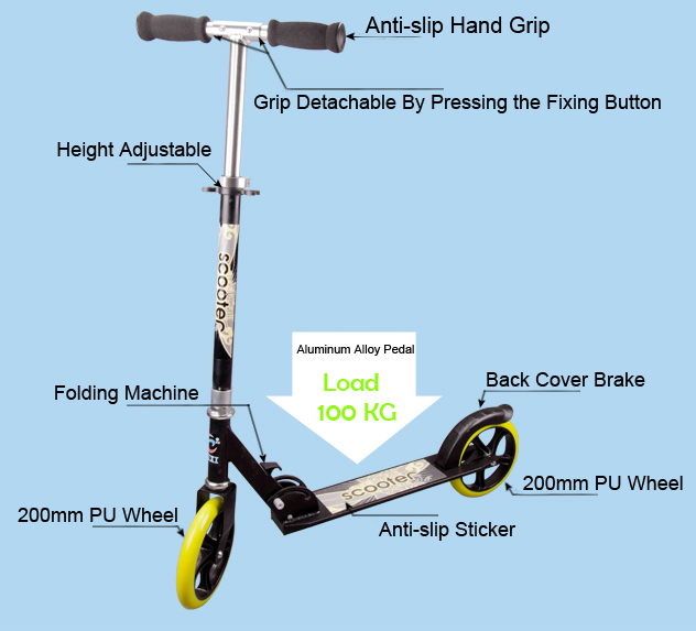 Two Wheel Scooter with 200 PU Wheel (BX-2M002)