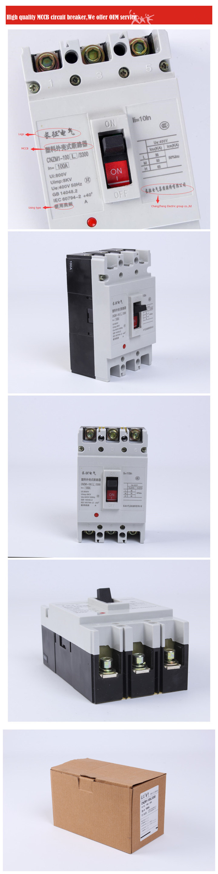 400A Circuit Breaker Electrical Switch MCCB MCB RCCB 3p