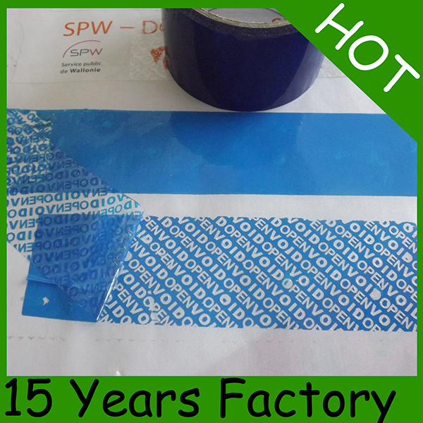 Total Transfer Blue Stripe Tamper Evident Security Tape