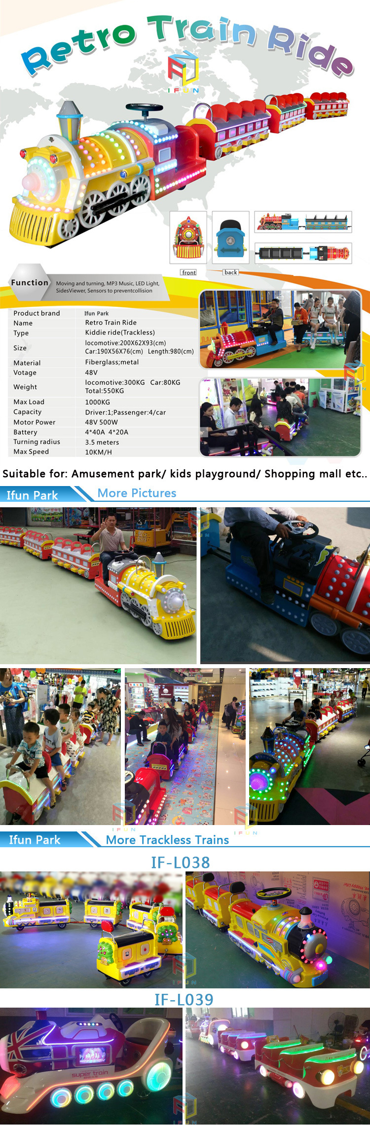 Amusement Park Shopping Mall Kid Ride on Radar Sensors Electric Mini Trackless Train