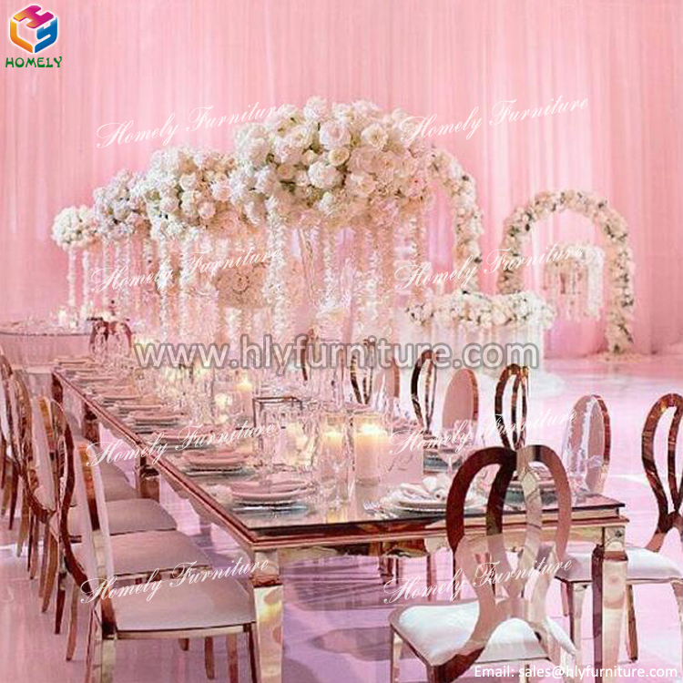 Round Gold Marble Top Wedding Dining Stainless Steel Table