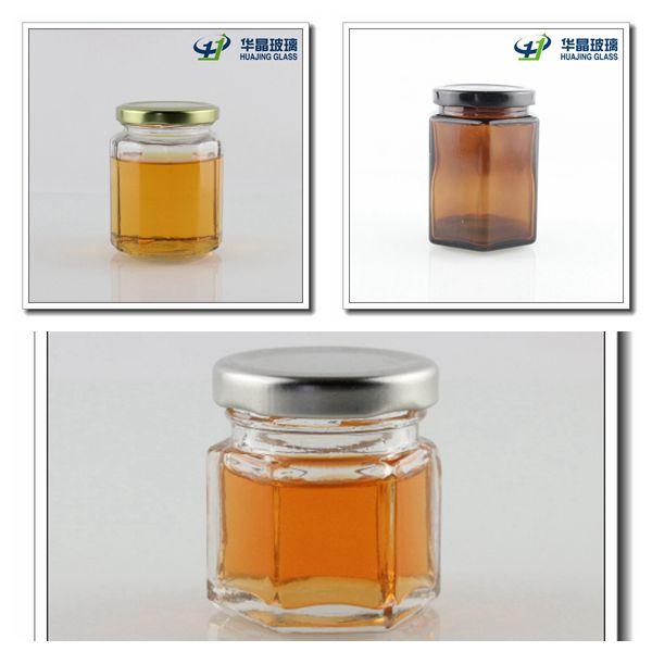 Food Storage Hexagon Mason Glass Jar with Tin Lid