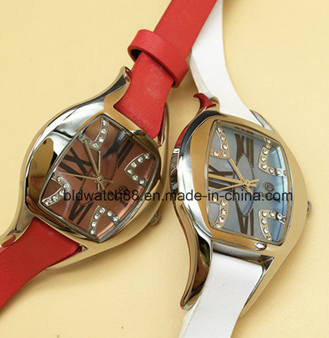 Fashion Women Crystal Watch with Leather Band
