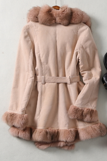 New Design Lady's Genuine Shearing Leather and Fur Jacket Long Style Fox Fur