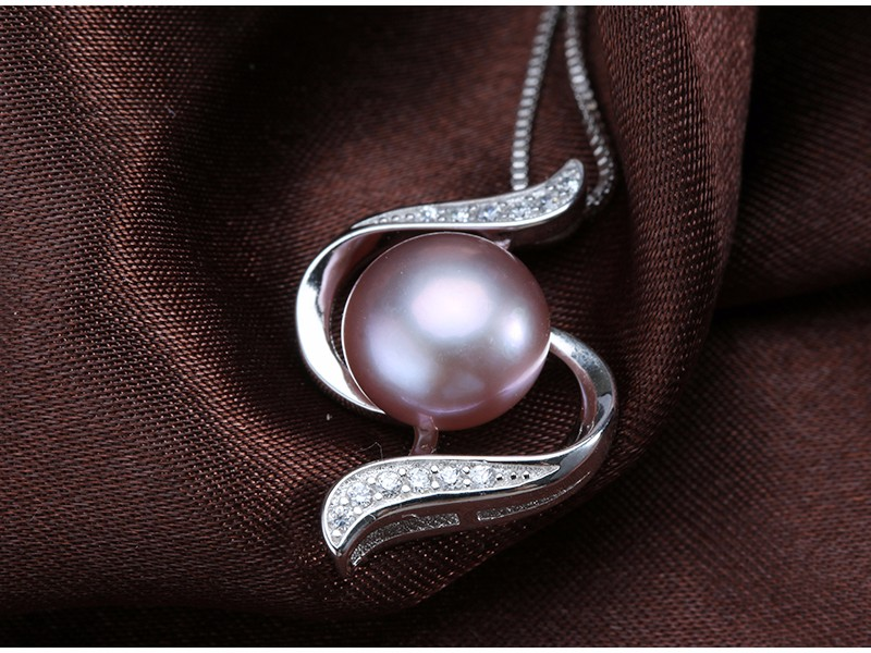 Freshwater Original Pearl Pendant AAA Bread Round 10-11mm 925 Silver Pearl Pendant Necklace