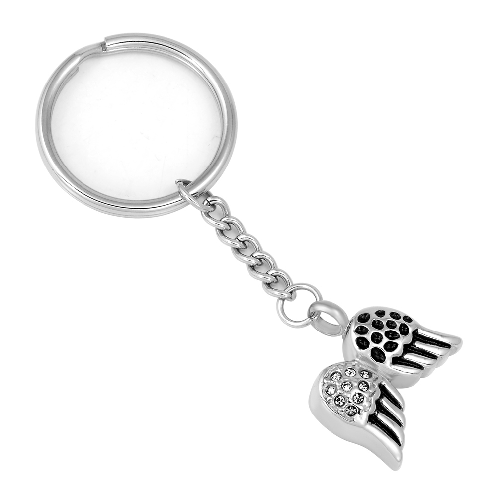 Facotry Wholesale Wings Cremation Ash Urn Key Chain for Keepsake