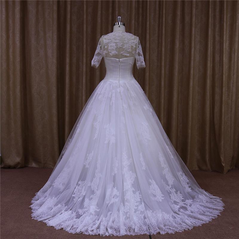 Detachable Jacket Lace Sequins Beaded Wedding Dresses
