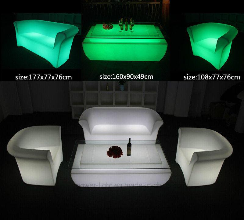 Modern LED Glow Leisure Patio Home Villa Furniture LED Bar Sofa Chair