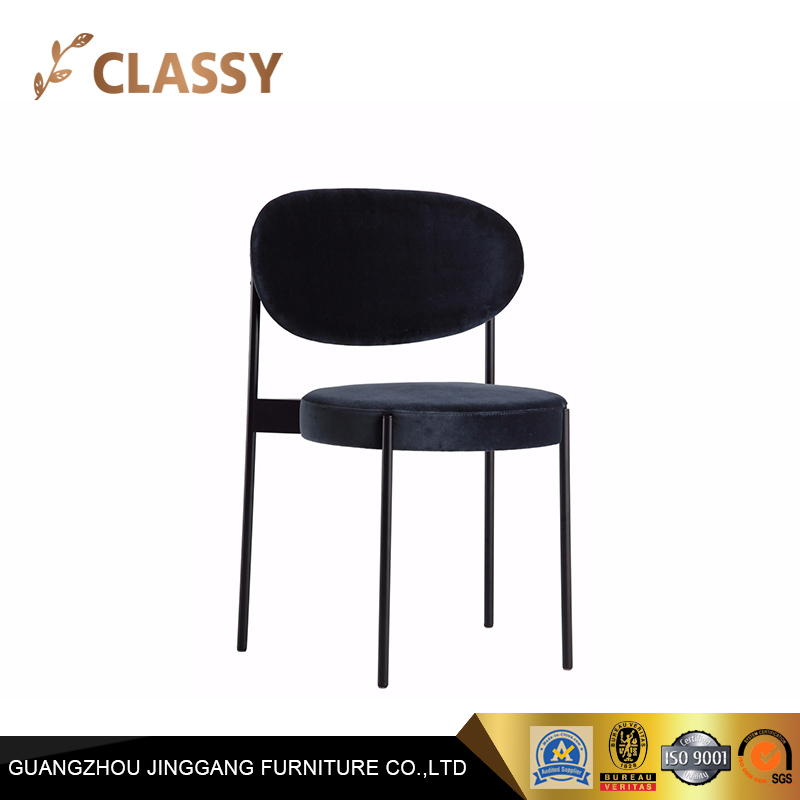 Simple Soft Fabric Restaurant Dining Chair with Four Metal Legs
