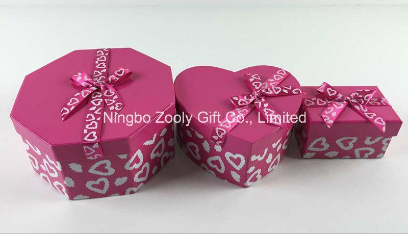 Custom Printing Ribbon Hexagonal Heart-Shaped Rectangle Mixed Paper Gift Boxes Set