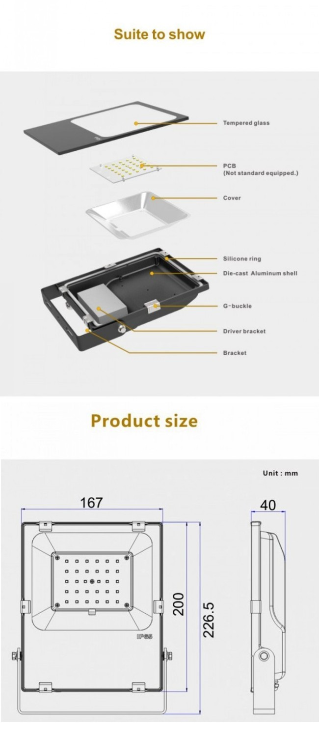 High Power LED Flood Light 10W/20W/30W/50W/70W/100W LED Outdoor Lighting 30W