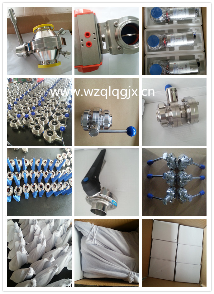 Sanitary Butterfly Valve(304/316L Tc Clamp/Weld/Thread/Male-Female Connection CNC Machine