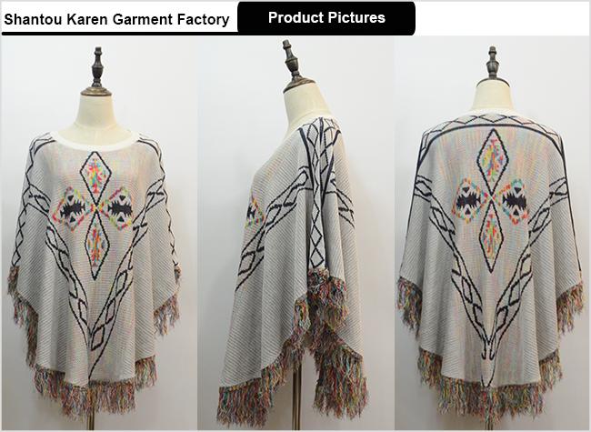 Women Casual Poncho Knitwear with Fringe Hem