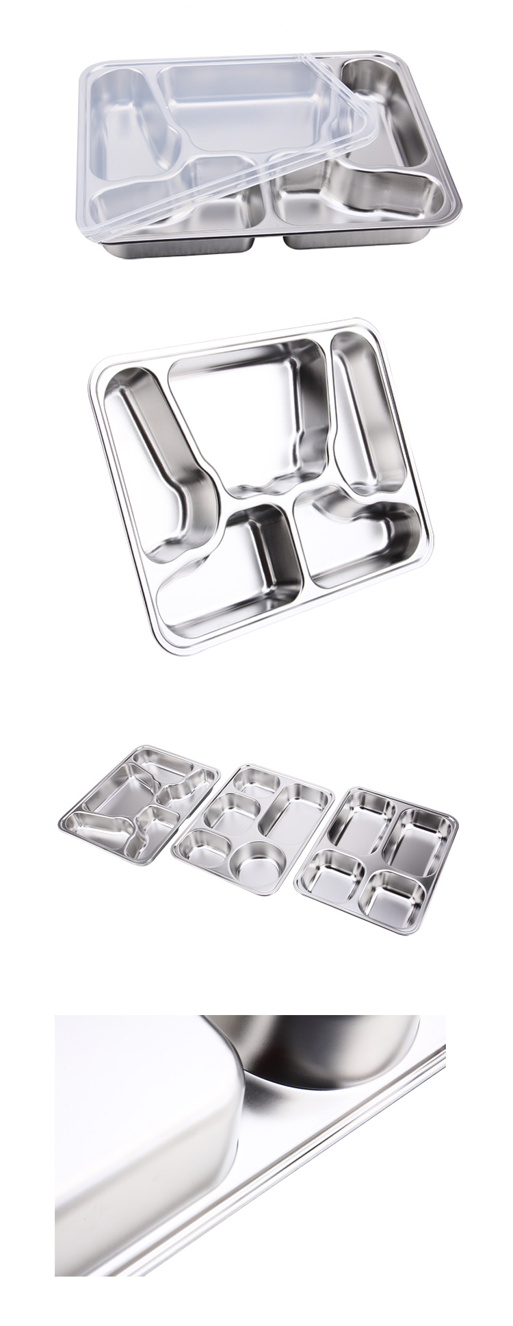 Wholesale Stainless Steel 5 Compartment Butterfly Lunch Plate