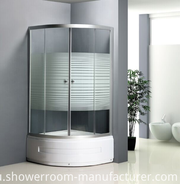 High Tray 45cm Stripe Glass Shower Cubicle (ADL-8035B)
