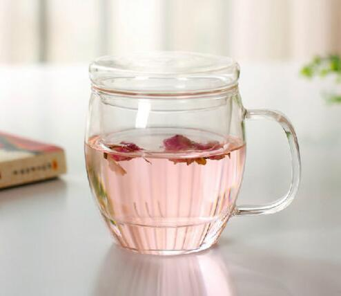 Heat Resistance Clear Glass Tea Cup with Infusion and Lid
