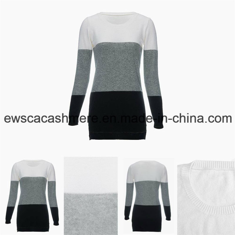 Women's Round Neck Long Sleeve Tri-Colors Top Grade Pure Cashmere Sweater