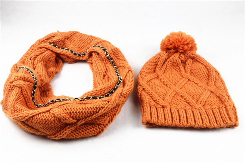 Mens Unisex Winter Warm Customerized Scarf Beanie Set Cable Knitted Scarf (SK171S)