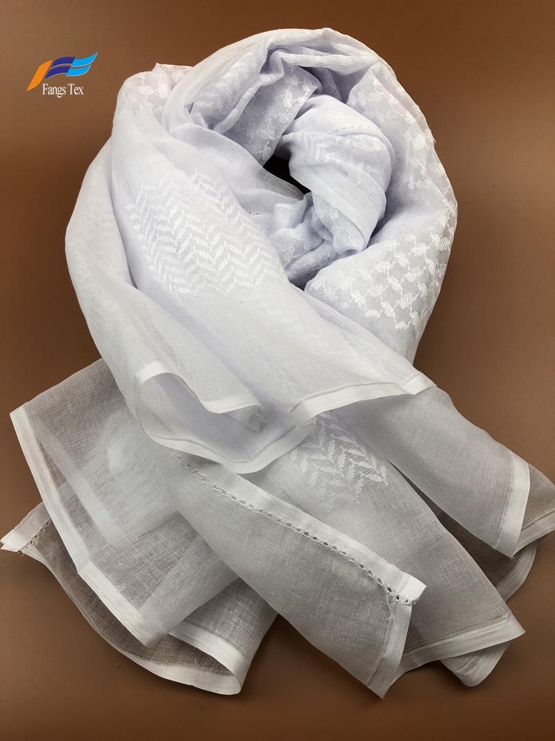 Crinkle Cotton Muslim Embroidered Mesh Shawls Hijab Scarf 2