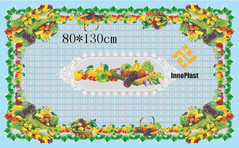Independent Design LFGB Printed Pattern Transparent Tablecloth 80*130cm