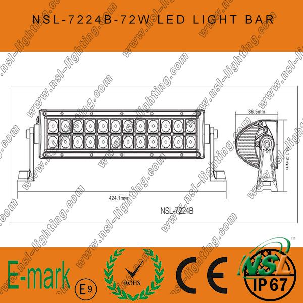 72W, 13inch LED Work Light, 24PCS*3W Creee LED Light Bar for Trucks