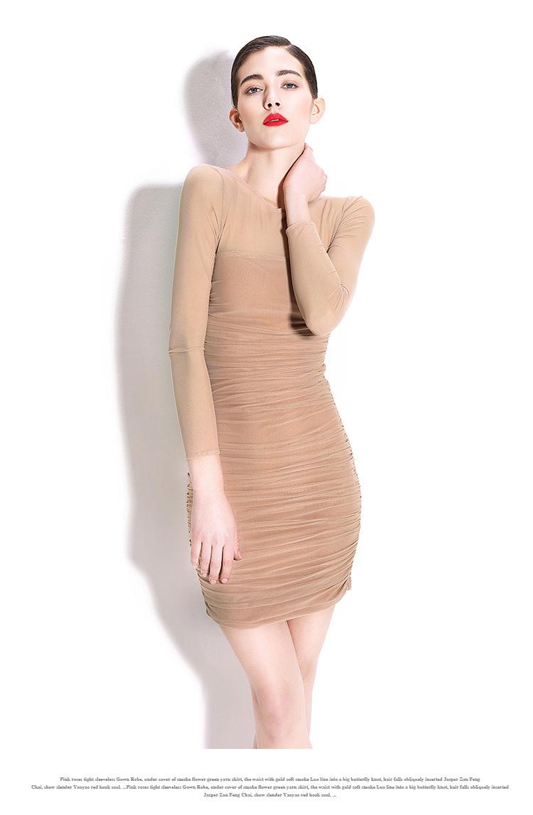 New Women Sexy Package Hip Thin Dresses Tight Folds Gauze Skirt Waist Knit Long-Sleeved Dress Guangzhou Factory OEM