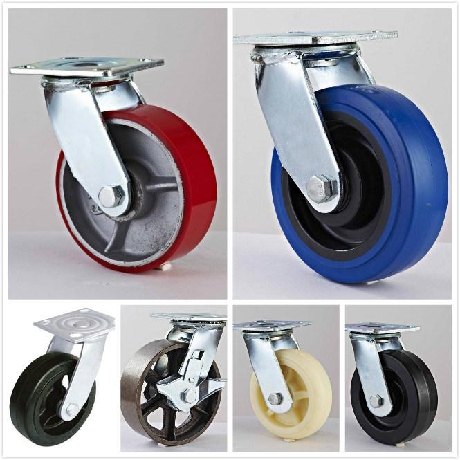 5X2'' Medium/Heavy Duty Rubber+Cast Iron Swivel+Brake Steel Caster Wheel