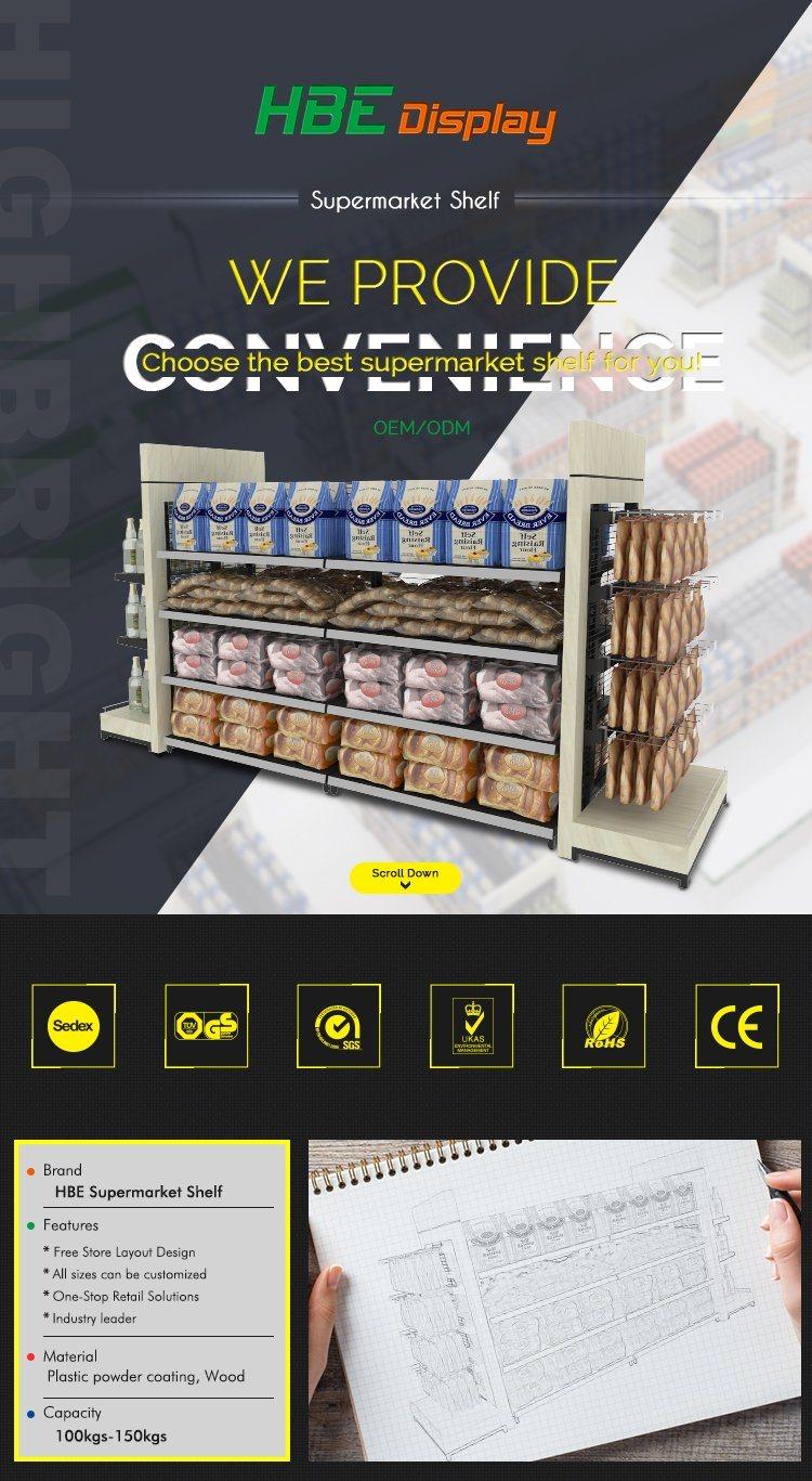 Wire Mesh Gondola Bakery Racks with Wire Basket Shelf
