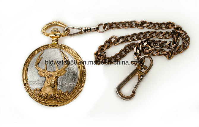 Custom Gold Tone Men's Double Opening Hunter Pocket Watch Chain