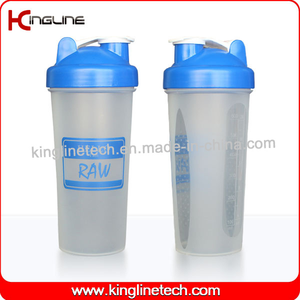600ml Plastic Protein Shaker Bottle with Blender mixer Ball Inside (KL-7017)