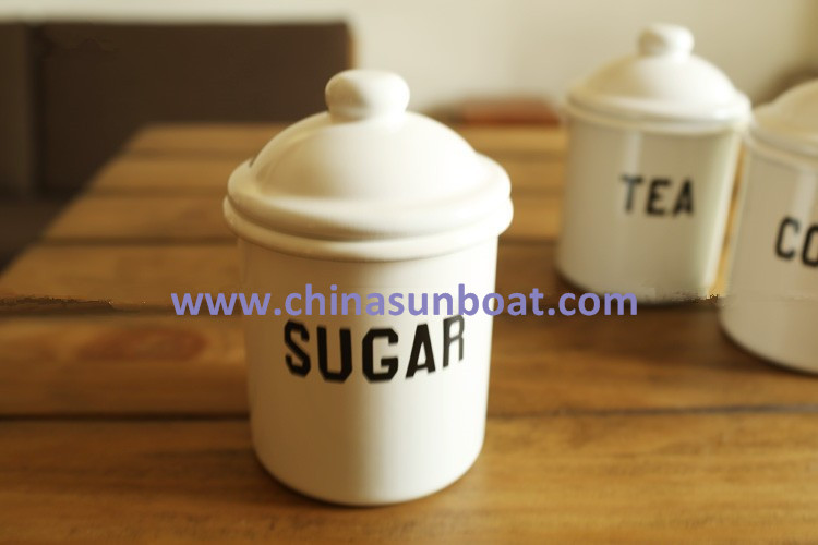 Sunboat Enamel Jars White 15cm Enamel Caster, Castor, Cruet Enamel Kitchenware
